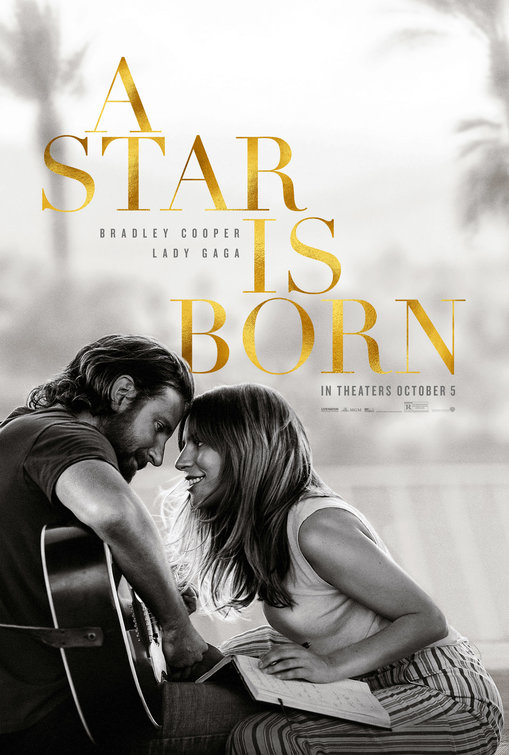 Three sentence movie review of A Star is Born (2018) directed by Bradley Cooper with and written by Eric Roth and Bradley Cooper. Stars Lady Gaga, Bradley Cooper, and Sam Elliott.