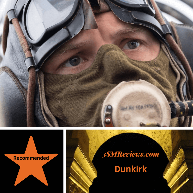 A picture of Tom Hardy. A star with the text Recommended. Text: 3SMReviews.com Dunkirk