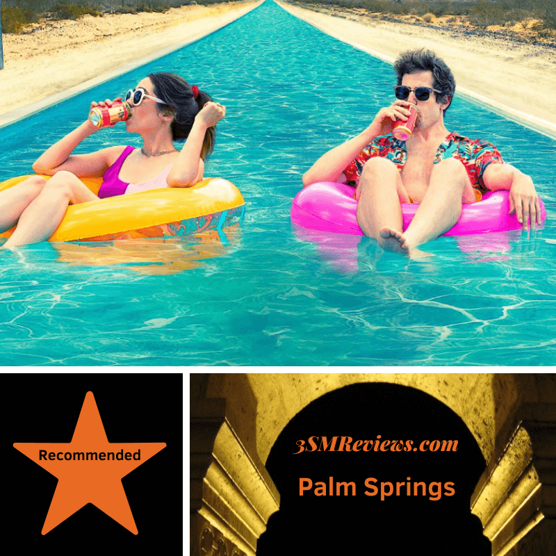 Image: Cristin Milioti and Adam Sandburg in a pool drinking beer. A star with text: Recommended. 3SMReviews.com Palm Springs