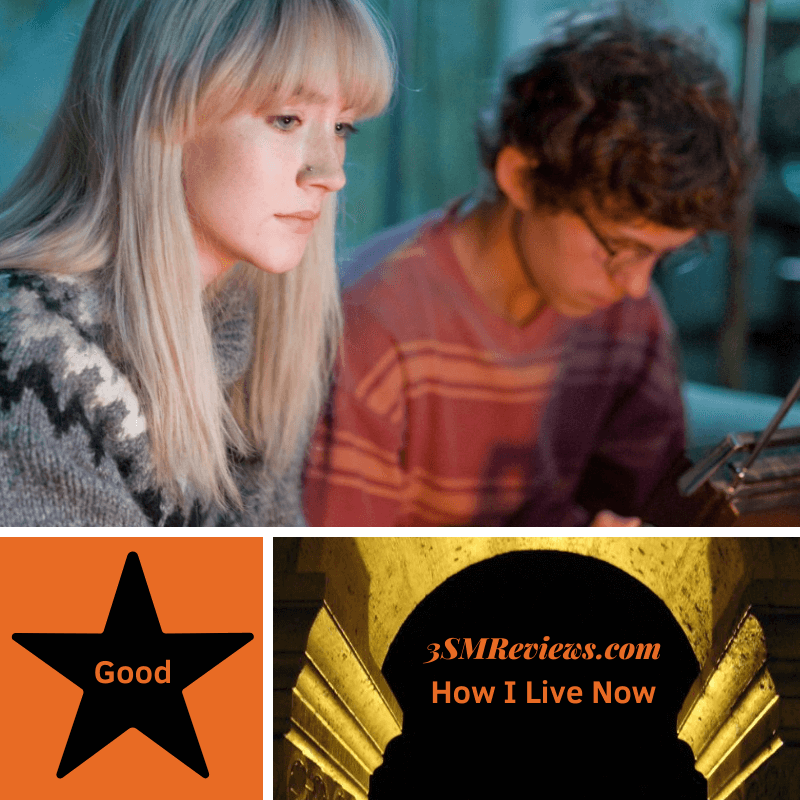 A picture of Saoirse Ronan and Tom Holland. A star with text that reads Good. Text: 3SMReviews.com How I Live Now