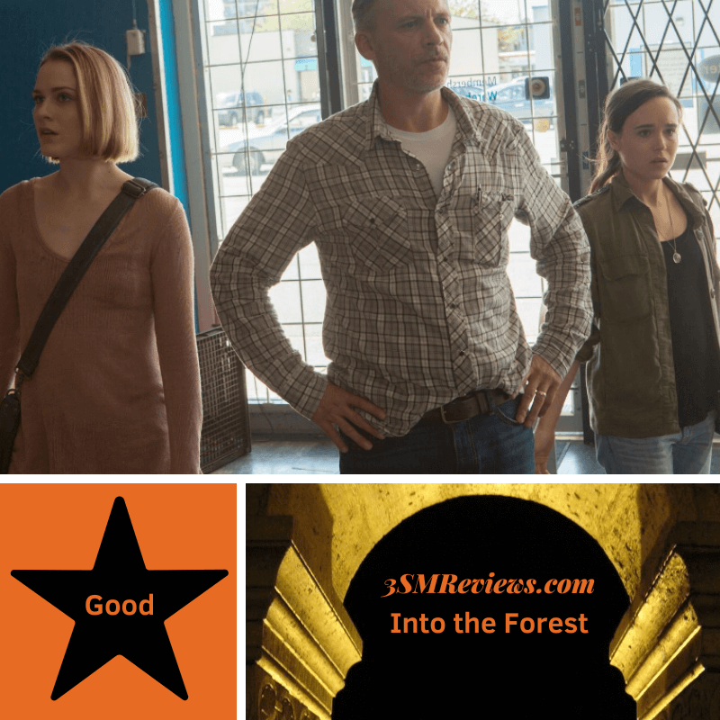Picture of Evan Rachel Wood, Callum Rennie, and Ellen Page in the film Into the Forest. A star with text: Good. An arch with text: 3SMReviews.com. Into the Forest