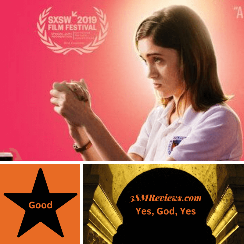 Picture of Natalia Dyer in the film Yes, God, Yes. A star with text: Good. An arch with text: 3SMReviews.com. Yes, God, Yes