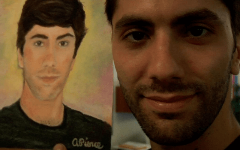 Picture of Nev Shulman next to a portrait of Nev Shulman.