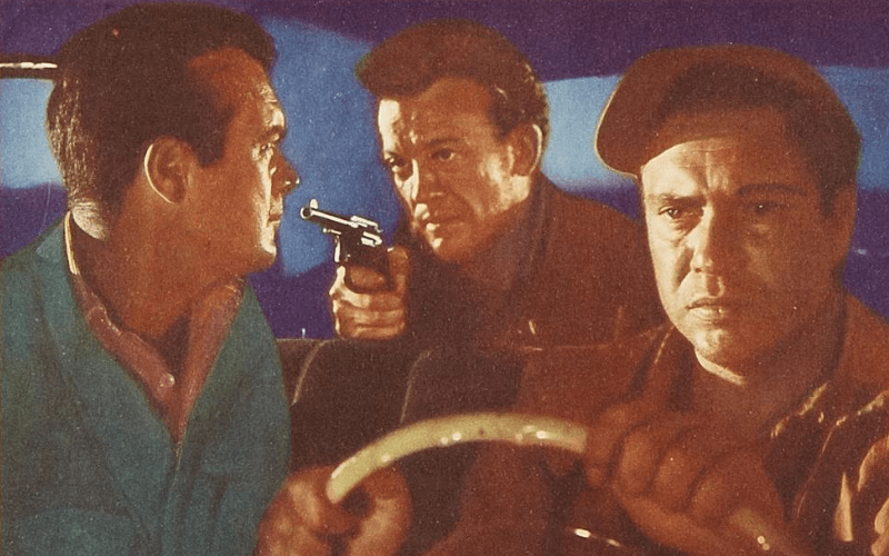 Drawing of the stars of the Hitch-Hiker: Edmond O'Brien, Frank Lovejoy, and William Talman