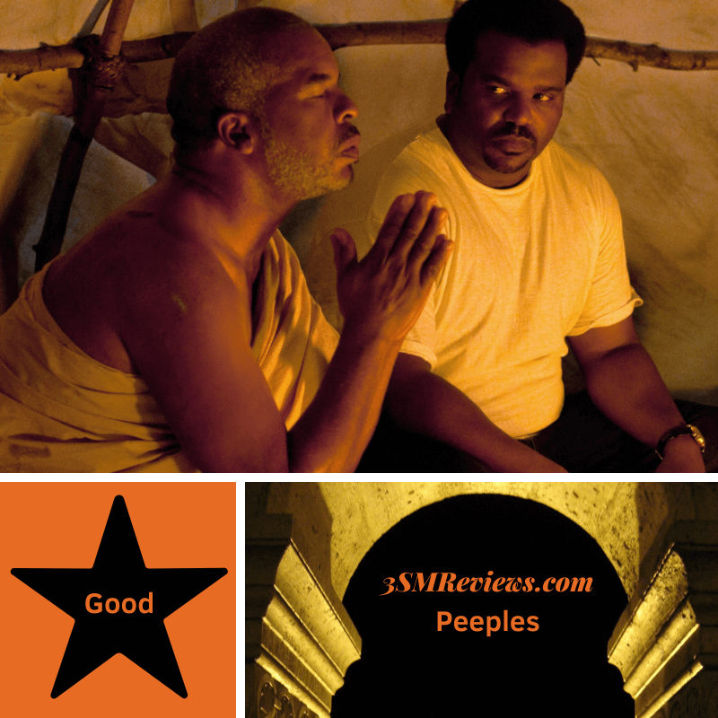 Picture of David Alan Grier and Craig Robinson in the film Peeples. A star with text: Good. An arch with text: 3SMReviews.com Peeples