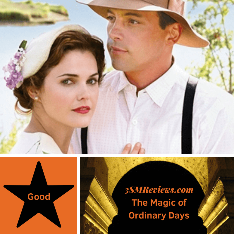 A picture of Keri Russell and Skeet Ulrich in the Hallmark Hall of Fame movie The Magic of Ordinary Days. A star with text: Good. An arch with text: 3SMReviews.com: The Magic of Ordinary Days