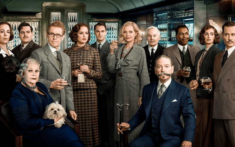Picture of the cast of Murder on the Orient Express including Kenneth Branagh, Penelope Cruz, Michelle Pfeiffer, Judi Dench, Olivia Coleman and more.