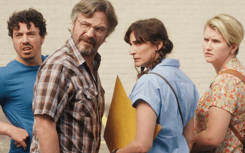 A picture of Jon Bass, Marc Maron, Michaela Watkins, and Jillian Bell in the film Sword of Trust.