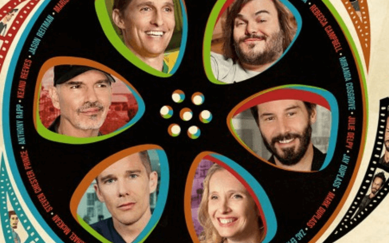 A depiction of a reel of film with the faces of Matthew McConaughey, Jack Black, Keanu Reeves, Julie Delpy, Ethan Hawke and Billy Bob Thornton