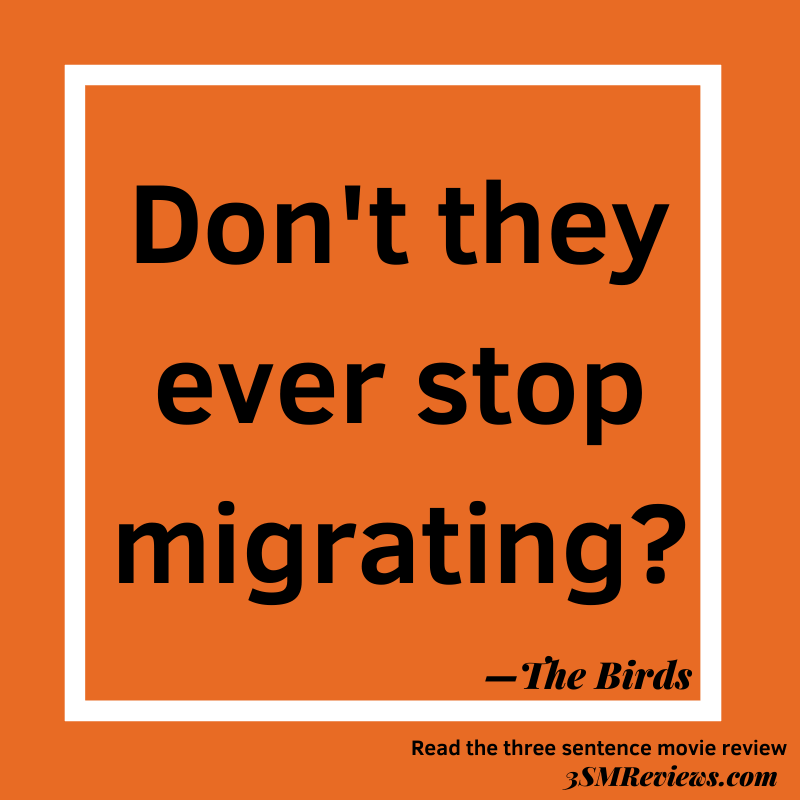 Orange background with a white frame. Text: Don't they ever stop migrating? 3SMReviews.com: The Birds