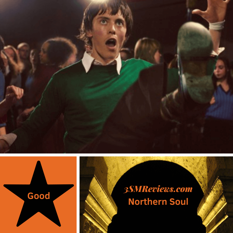 A picture of Elliot James Langridge in the film Northern Soul. A star with text: Good. An arch with text: 3SMReviews.com: Northern Soul