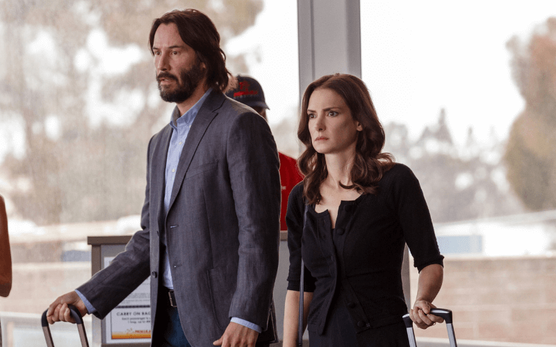 A picture of Keanu Reeves and Winona Ryder in the film Destination Wedding