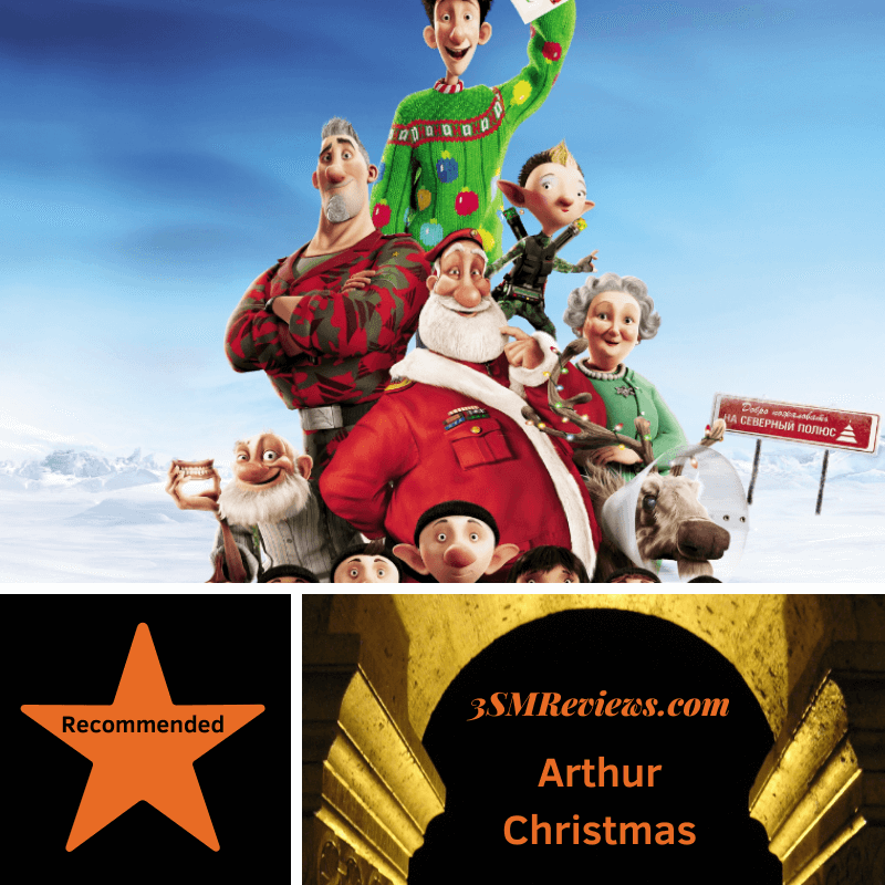 The cast of the film Arthur Christmas arranged in a pyramid with the elves on the bottom and Arthur at the top. A star with text: Recommended. An arch with text: 3SMReviews.com: Arthur Christmas