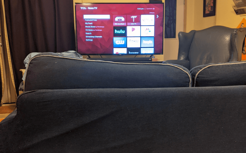 A picture of my Ikea couch with my Roku TV which became ground zero for movie viewing in 2020