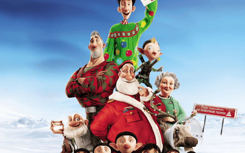 The cast of the film Arthur Christmas arranged in a pyramid with the elves on the bottom and Arthur at the top.