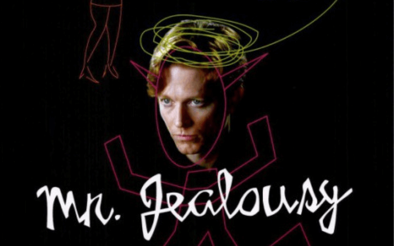 A picture of Eric Stoltz's head with a sketch that makes him look like the devil. Text: Mr. Jealousy