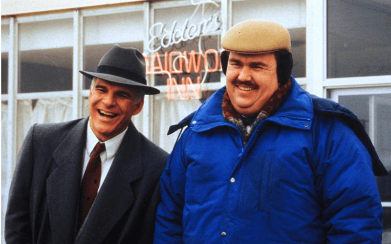 A picture of Steve Martin and John Candy in the film Planes, Trains & Automobiles.