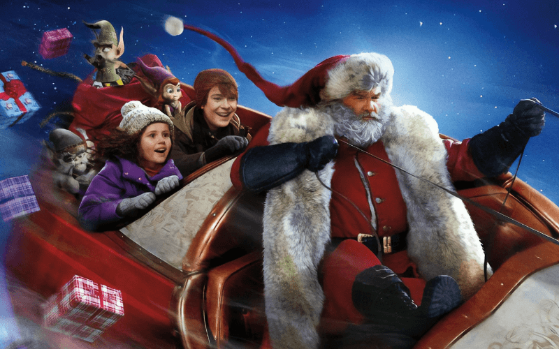 Darby Camp, Judah Lewis, and Kurt Russell in The Christmas Chronicles.