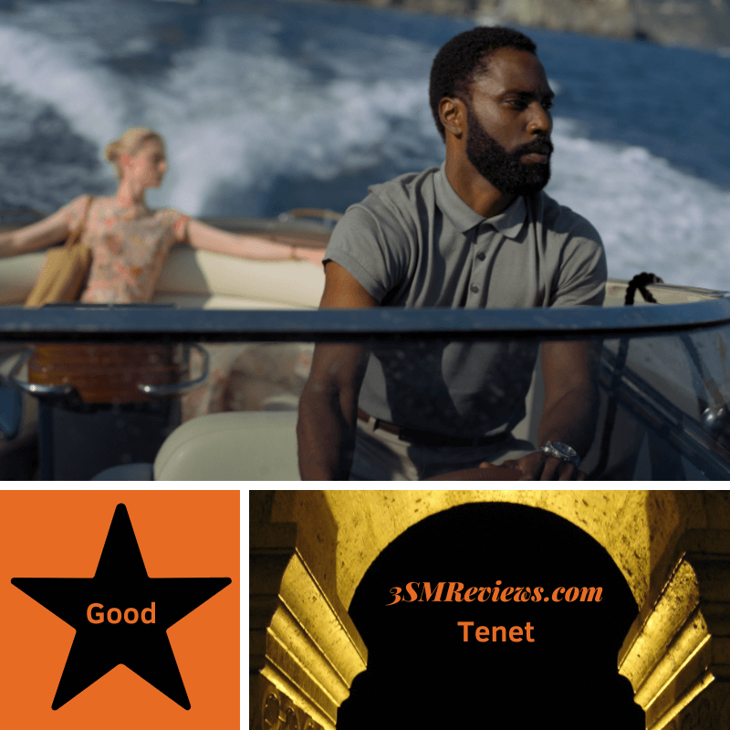 John David Washington and Elizabeth Debicki in Tenet. A star with text Good. An arch with text 3SMReviews.com: Tenet