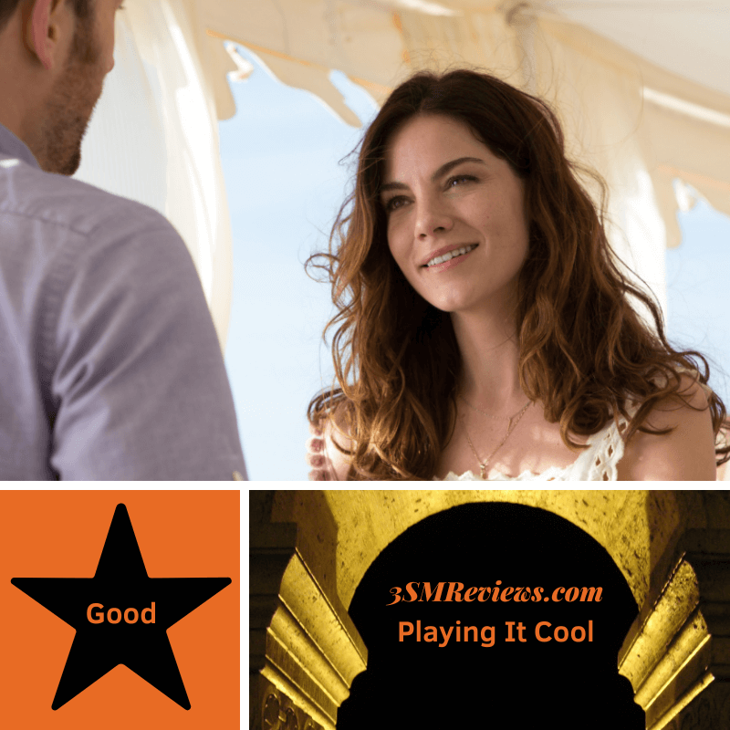 Michelle Monaghan and Chris Evans in Playing It Cool. A star with text: Good. An arch with text: 3SMReviews.com: Playing It Cool