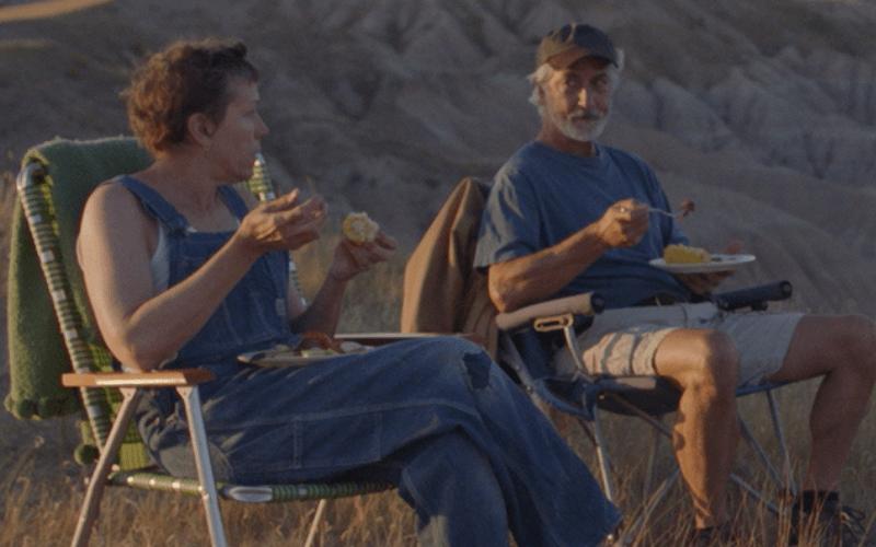 Frances McDormand and David Strathairn in Nomadland