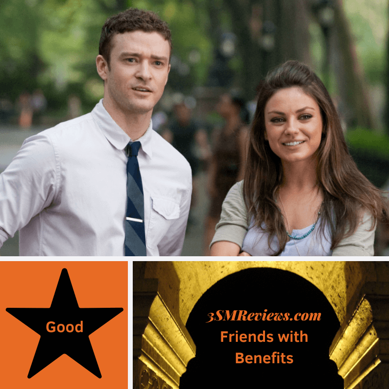 Justin Timberlake and Milia Kunis in Friends with Benefits. A star with text: Good. An arch with text: 3SMReviews.com: Friends with Benefits