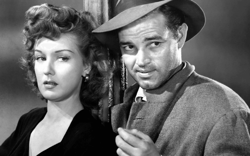 Ann Savage and Tom Neal in Detour.